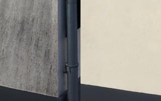 facaderens - forskelen er tydelig